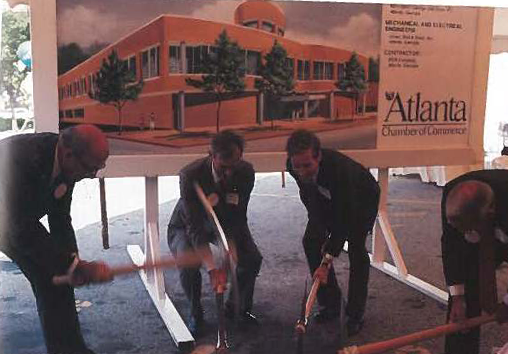 1986: Atlanta Chamber of Commerce Executives break ground on the Atlanta Chamber of Commerce building.