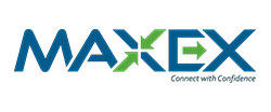 MAXEX logo, blue and green on a white background. A Backed by ATL company.